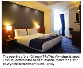 Wyndham Hotel Group, the world's largest hotel company with nearly 7,260 hotels and part of Wyndham Worldwide Corporation (NYSE: WYN), today announced the introduction of its select-service TRYP by WyndhamSM hotel brand in Turkey with the opening of the 108-room TRYP by Wyndham Istanbul Taksim.