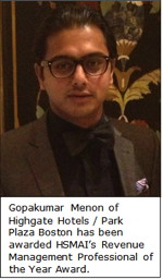 Gopakumar Menon of Park Plaza Boston to Receive Distinguished Industry Award