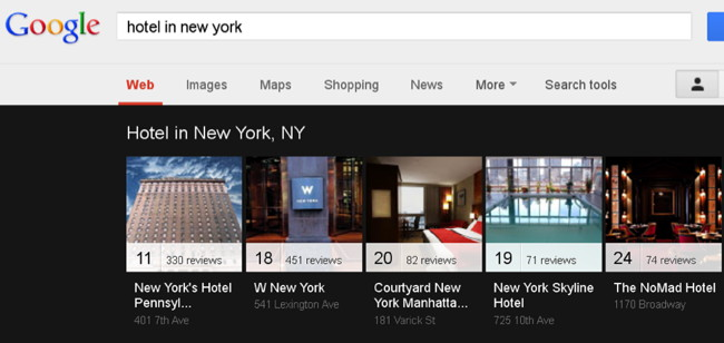 Google Carousel Hotel Search Example