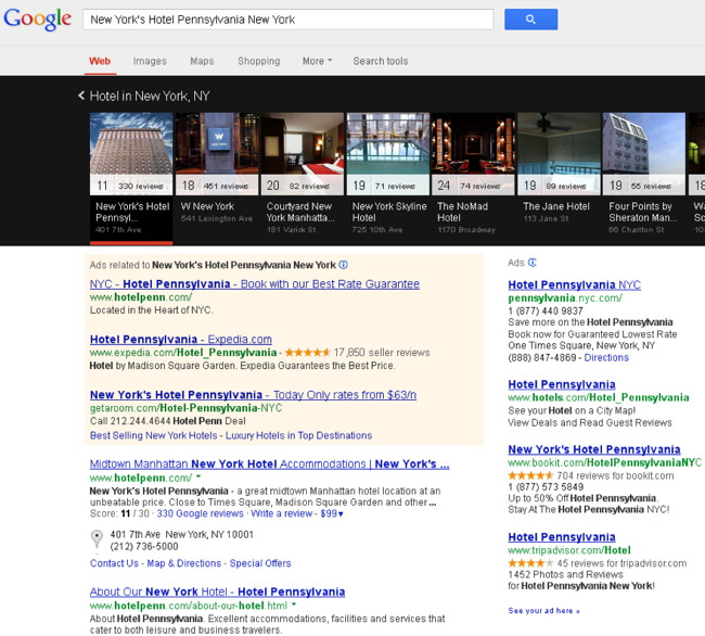 Google Carousel Hotel Search Example for New York's Hotel Pennsylvania