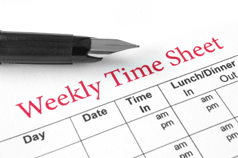 Picture of a Weekly time sheet