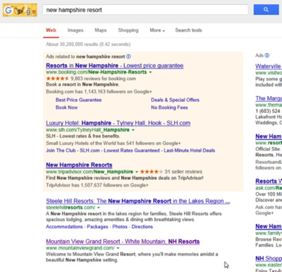 Screenshot - new hampshire resort search results