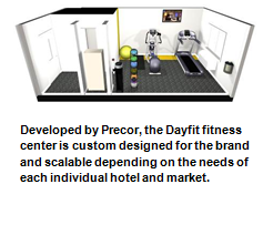 Developed by Precor, the Dayfit fitness center is custom designed for the brand