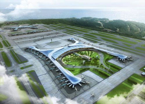Aerial rendering of Incheon International Airport's new Terminal 2, which breaks ground September 26, 2013 in Korea. Rendering courtesy Gensler, collaborating design architect with the HMGY Consortium.