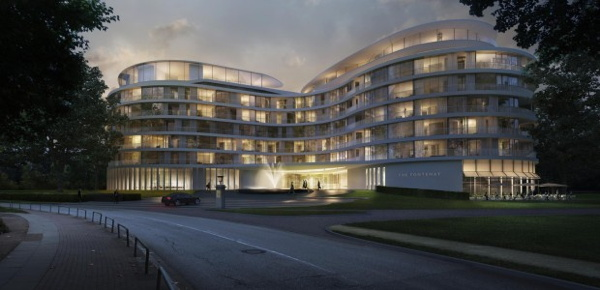 rendering of the The Fontenay Hotel in Hamburg
