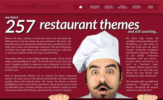 Partial screenshot restaurantthemes101.com