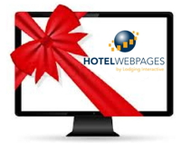 Screen wrapped in a bow and showing hotelwebpages.com logo