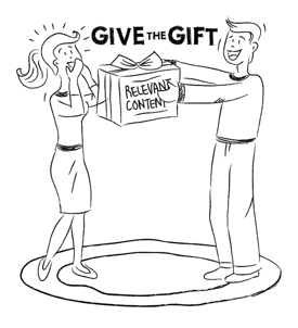 Cartoon showing giving the gift of relevant content