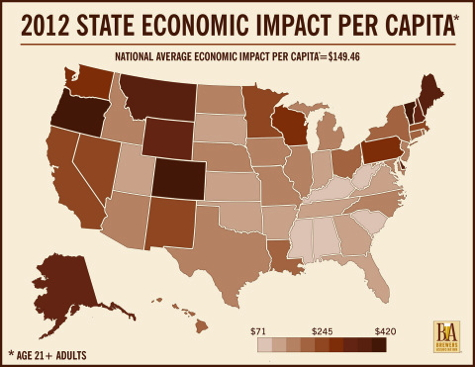 Map - 2012 State Economic Impact Per Capita - Craft Brewers' Economic Contribution