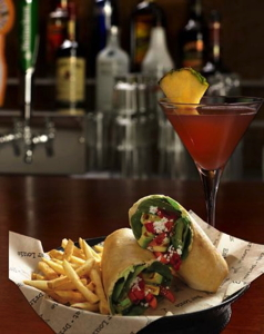 Bar Louie's Grilled Veggie Wrap and Diva Martini.
