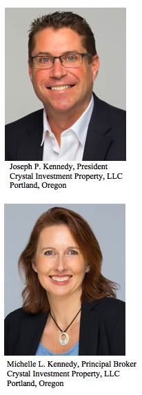 Pictured Joseph P. Kennedy, President Crystal Investment Property, LLC Portland, Oregon and Michelle L. Kennedy, Principal Broker Crystal Investment Property, LLC Portland, Oregon