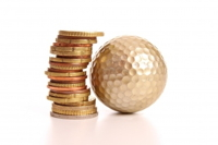 Graphic of a golf ball and a stack of coins