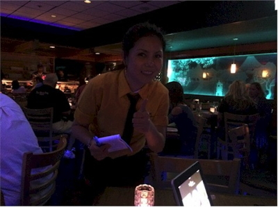 Vivi, our amazing server at Tee- Jay Thai Sushi