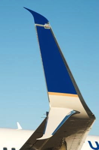 This photo shows the pre-certified Split Scimitar Winglet installed on a United Boeing 737-800 during the testing phase that began July 2013.