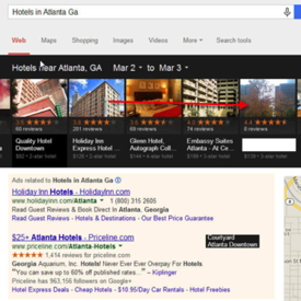 Screenshot from google search for hotels in Atlanta