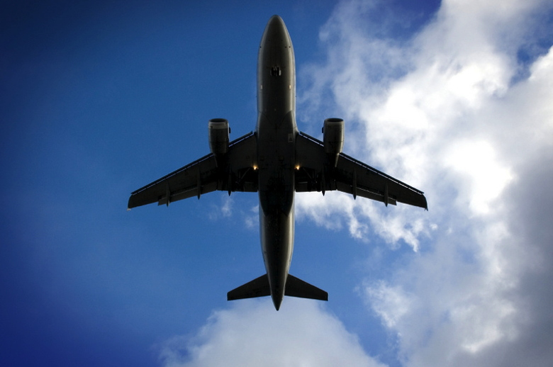 Picture of airplane flying overhead