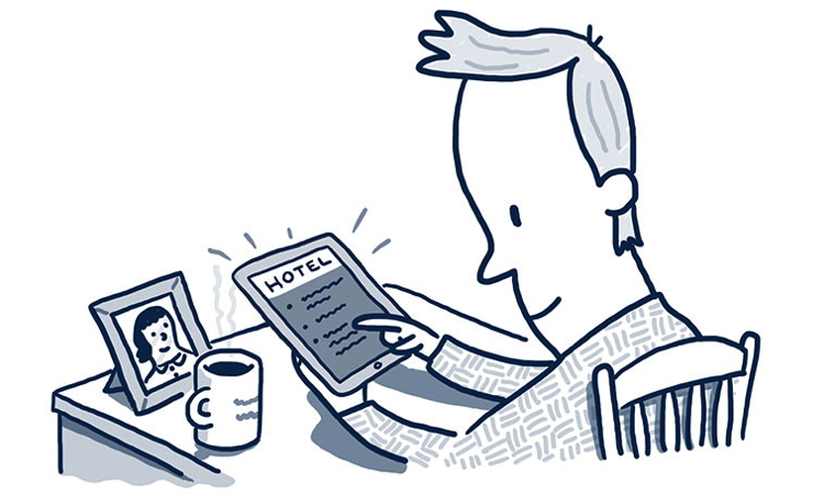 Cartoon of a man using a tablet