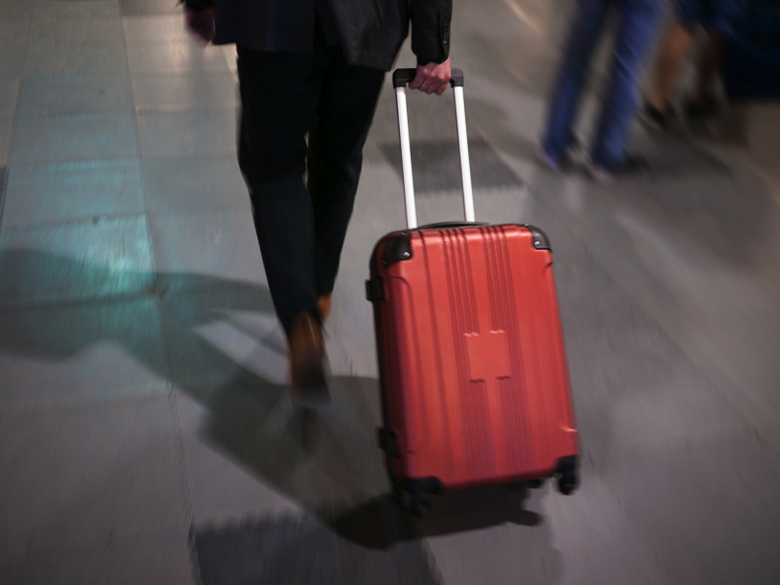 Traveller pulling luggage