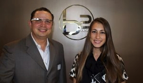 Sig Varela, General Manager of B2 Hotel Miami, with Colleen Delaney of Tambourine testing Google glass.