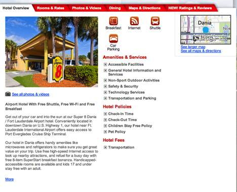 Screenshot Ramada Website hotel detail page