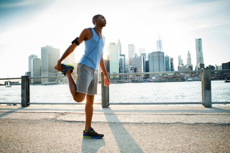 Man stretching in New York
