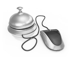 Graphic of a computer mouse connected to bell
