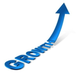 Graphic - the word growth with an upward arrow
