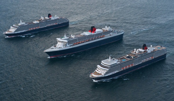 Cunard Line's Three Queens, from top left to right: Queen Victoria, Queen Mary 2 and Queen Elizabeth.