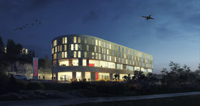 Rendering of the Scandic Flesland Airport Hotel