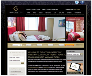 Screenshot from the Marks Hotel Glasgow web site