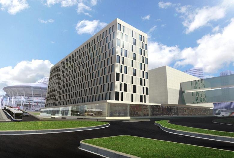 Rendering of Steigenberger Hotel under construction in Amsterdam