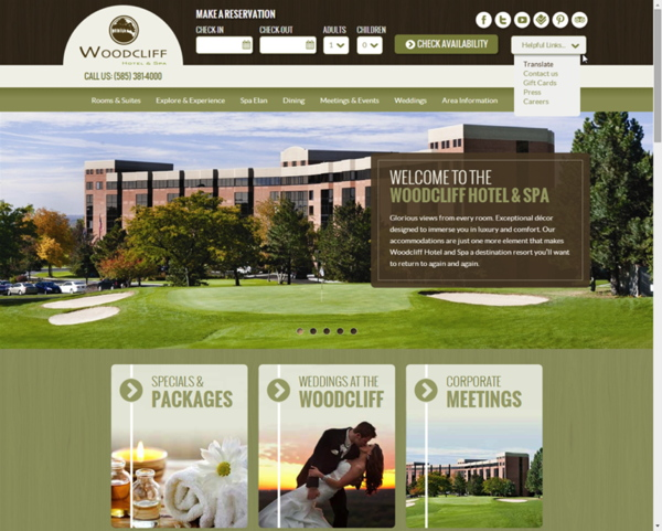 Screenshot - Woodcliff Hotel and Spa web site