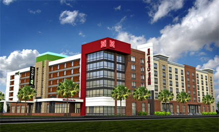 Rendering of the dual-branded Hilton Garden Inn and Home2 Suites Columbia Downtown
