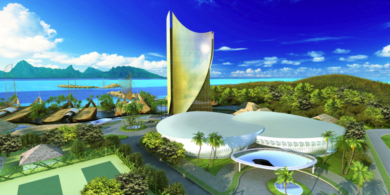 Rendering of the Tahiti Mahana Beach Resort