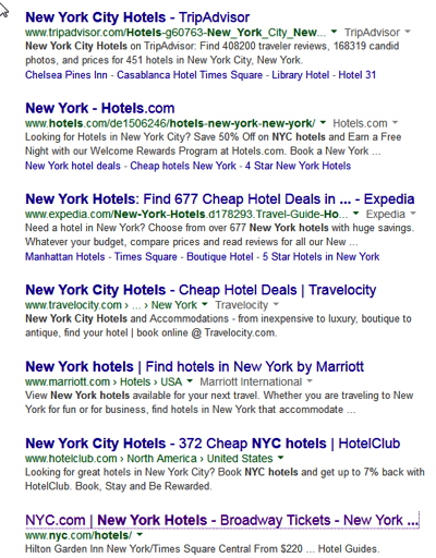 Screenshot of Google New York hotel search