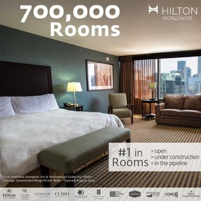 Image celebrating Hilton's milestone of 700,000 rooms