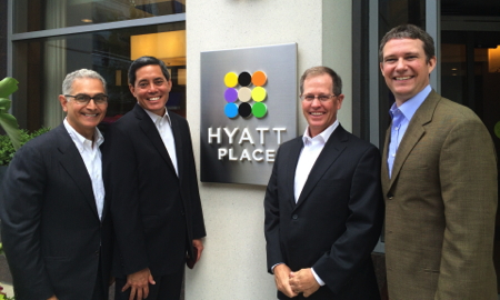 Mark Hoplamazian, Hyatt president and CEO; Jim Chu, Hyatt senior vice president, franchising strategy; John Cantele, Hyatt senior vice president, select service; and Chris Walker, Hyatt vice president, brand experience gather together to celebrate 200 Hyatt Place locations and counting.