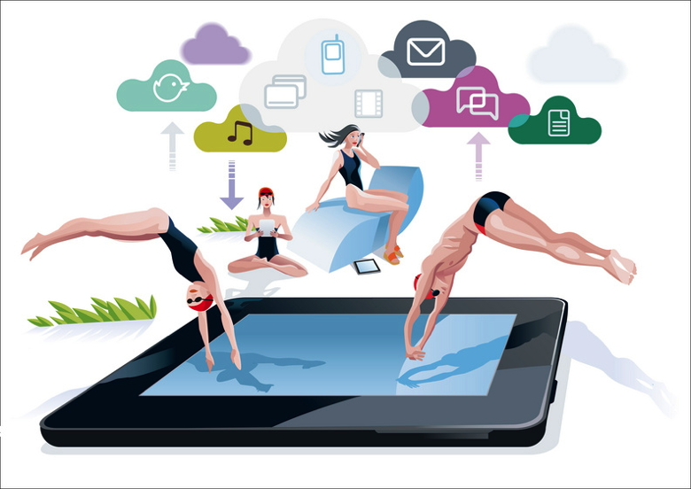 Graphic of travelers jumping into a pool in the shape of a tablet