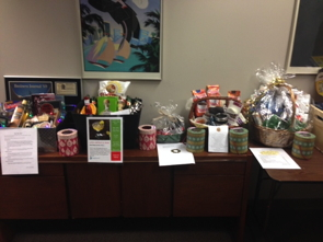 Gift table from Vizergy's Holiday Fundraising Drive