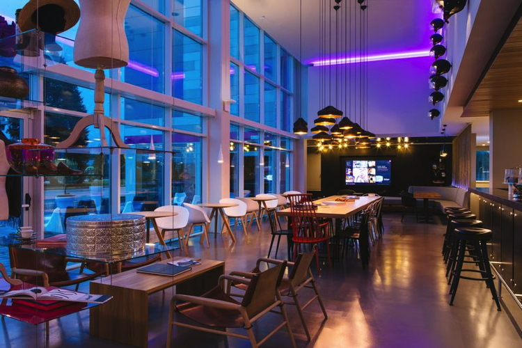 Lobby at an unidentified Moxy Hotel