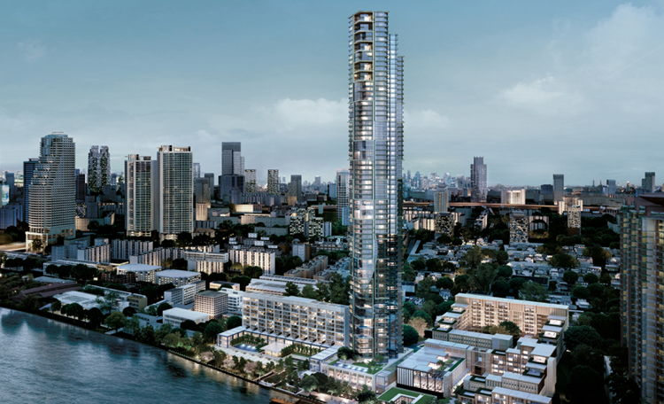 Rendering of the Four Seasons Hotel Bangkok at Chao Phraya River