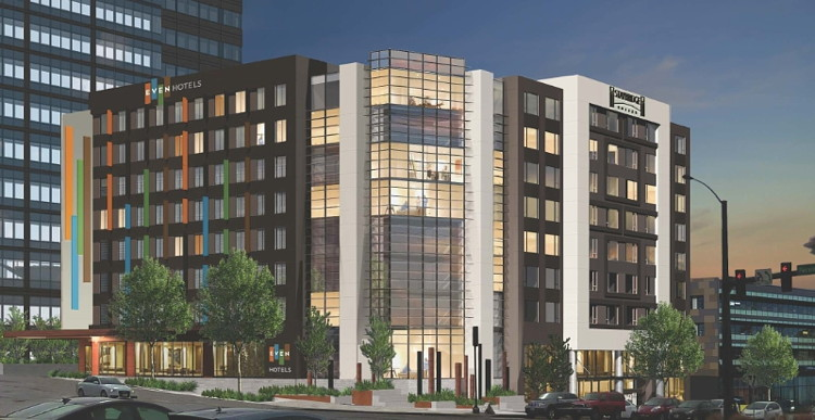 Rendering of the Dual-Branded Even And Staybridge Suites Hotels to Open 2017 Downtown Seattle