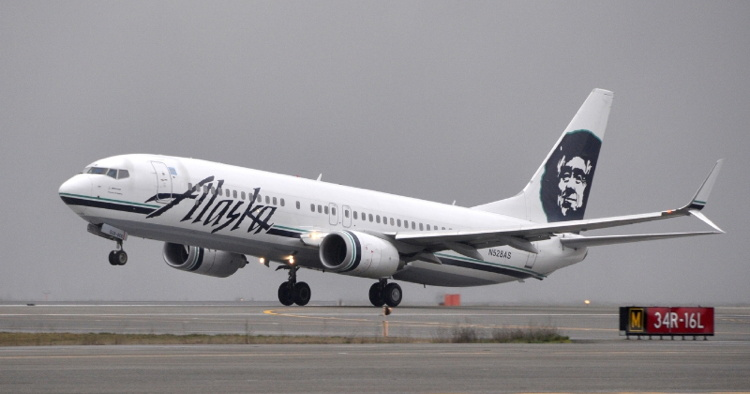 An Alaska Airlines jet during takeoff