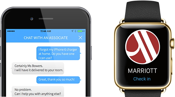 Screenshot of Marriott Mobile App on a phone and Apple Watch