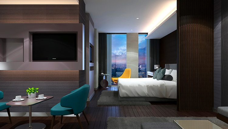 Rendering of a guest room at the Novotel Suites Hanoi Hotel