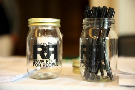 Two jars with 'Reduce and Recover: Save Food for People' print
