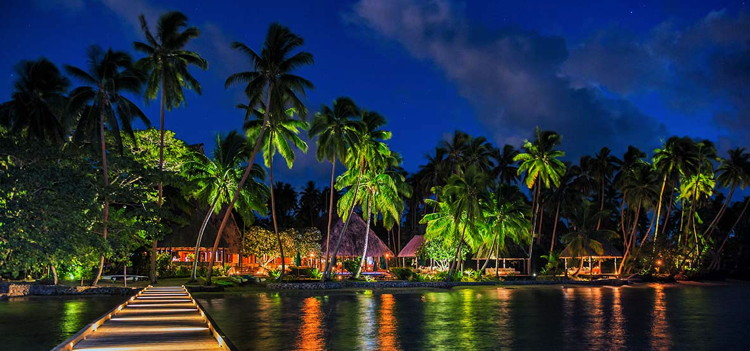 Jean-Michel Cousteau Resort - view from ocean at night