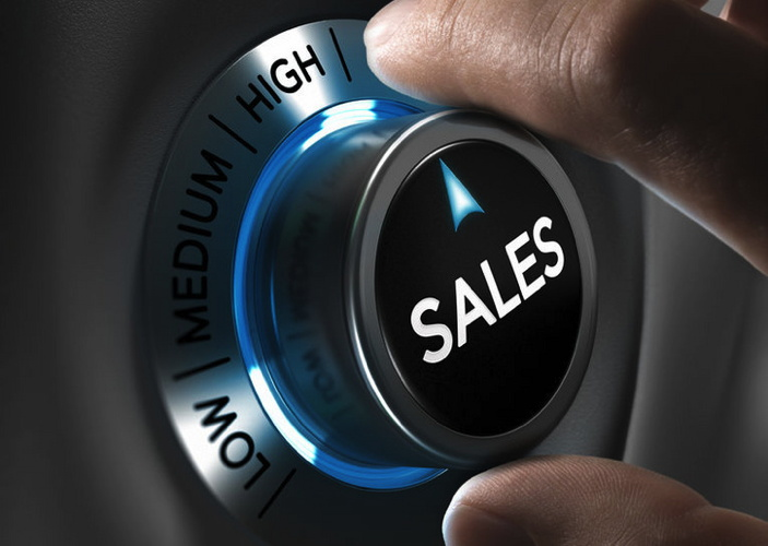 Sales button pointing the highest position with two fingers