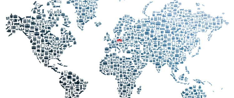 Map of the world made up of icons - Source ITB World Travel Trends Report 2016/17