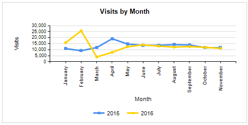 Graph - Visits by month